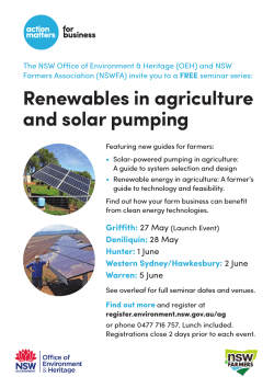 Renewables in Agriculture and Solar Pumping seminar