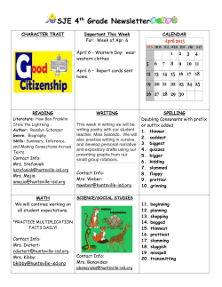 SJE 4th Grade Newsletter