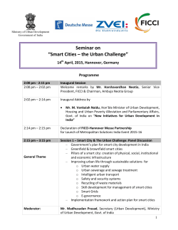 "Seminar on ""Smart Cities – the Urban Challenge"""