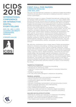 ICIDS2015-CFP pdf - 8th International Conference on Interactive