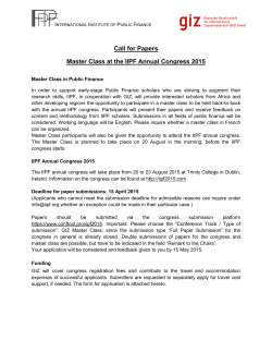 Call for Papers Master Class at the IIPF Annual Congress 2015