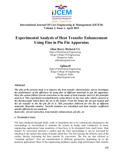 Experimental Analysis of Heat Transfer Enhancement Using Fins in