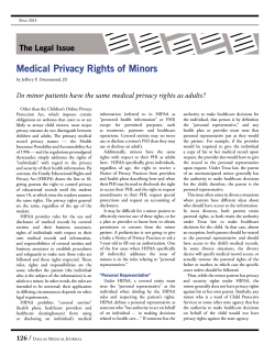 Medical Privacy Rights of Minors