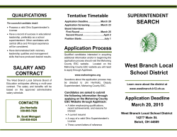 SUPERINTENDENT SEARCH West Branch Local