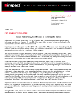 Impact Networking, LLC Invests in Indianapolis Market