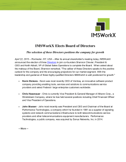 IMSWorkX Elects Board of Directors