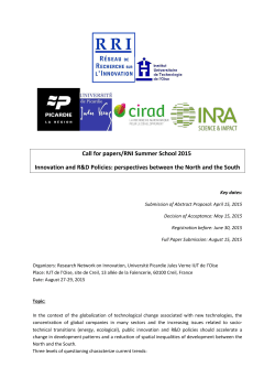 Call for papers/RNI Summer School 2015 Innovation and