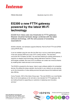 EG300 a new FTTH gateway powered by the latest Wi-Fi