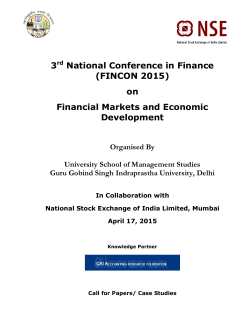 3 National Conference in Finance (FINCON 2015) on Financial