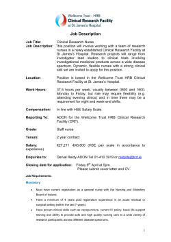 Job Description - HRB Clinical Research Facility at St James Hospital