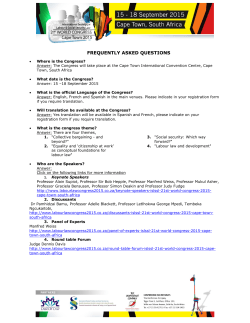 World Congress 2015 Fact Sheet/FAQ