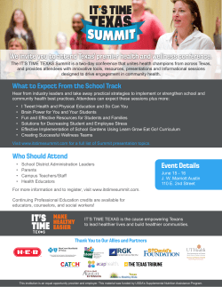 We invite you to attend Texas` premier health and