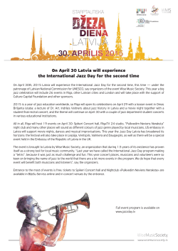 On April 30 Latvia will experience the International Jazz