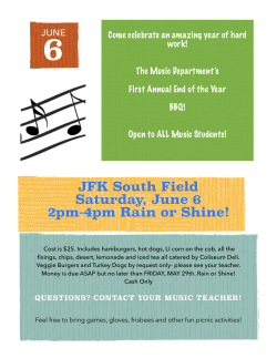 JFK South Field Saturday, June 6 2pm