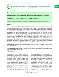 Anthocyanin Extraction from Winery Waste Material: A Review