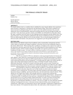 The Female Athlete Triad - Journal of Student Scholarship