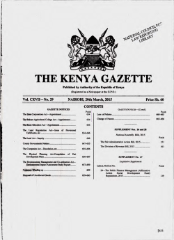 THEKENYAGAZETTE - Kenya Law Reports