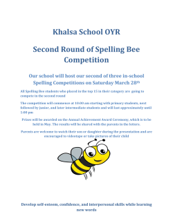 Khalsa School OYR Second Round of Spelling Bee Competition Our