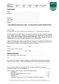Senior Membership Form 2015 - Kinross