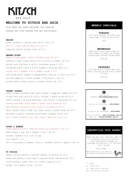 Sample Menu - Kitsch Bar Asia