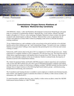 FOR IMMEDIATE RELEASE No - Alaska Department of Labor and
