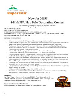 New for 2015! 4-‐‑H & FFA Hay Bale Decorating Contest