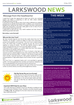 Newsletter w/e 8th May 2015