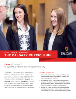 an overview document of the Calgary Curriculum
