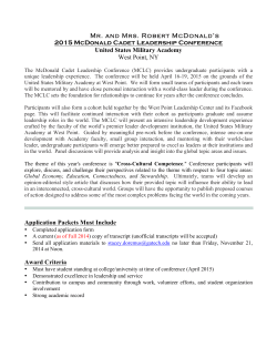 McDonald Cadet Leadership Conference Application 2015