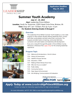 Summer Youth Academy Flyer - Leadership Prince William