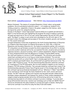 2014-15 Annual School Improvement Council Report to the Parents