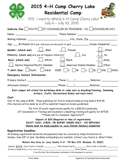 Camp Cherry Lake Registration Form