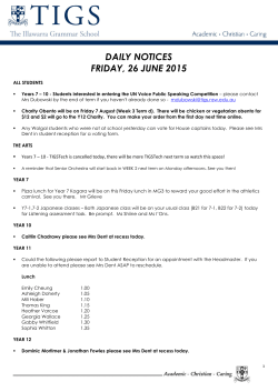 daily notices friday, 12 june 2015