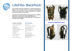 LifeFilta LFBP hydration backpack productsheet