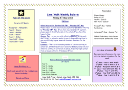 Weekly Bulletin 08.05.15 - Lime Walk Primary School