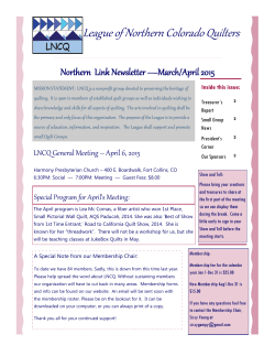 March - April 2015 Newsletter - League of Northern Colorado Quilters