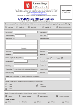 Application Form - London Regal College