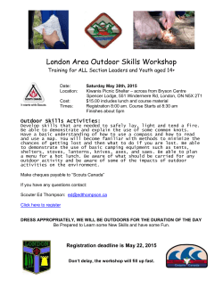 Outdoor Skills - May 30, 2015