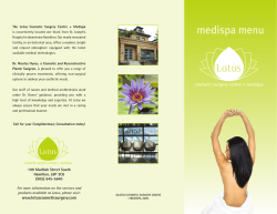 medispa menu - Lotus Cosmetic Surgery Centre and Medispa