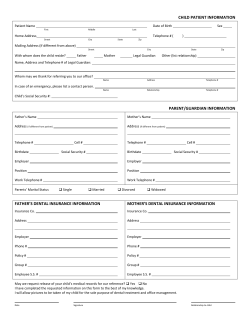 Child Health History Form