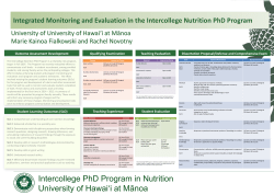 Integrated Monitoring and Evaluation in the Intercollege Nutrition
