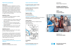 General Flyer  - Analysis and Design of Social Protection