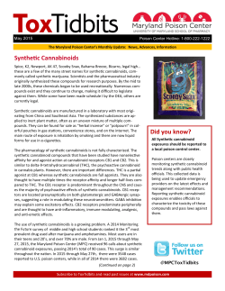 May 2015 ToxTidbits - Maryland Poison Center