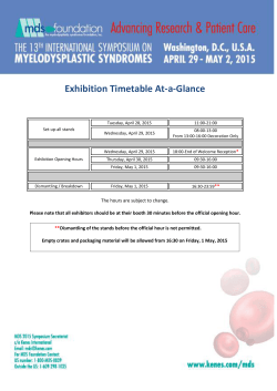 MDS 2015 Exhibition Timetable