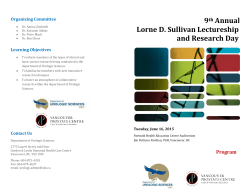 9th Annual Lorne D. Sullivan Lectureship and Research Day