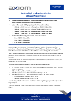 Further high grade mineralisation at Isabel Nickel