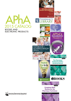 2015 CATALOG - American Pharmacists Association