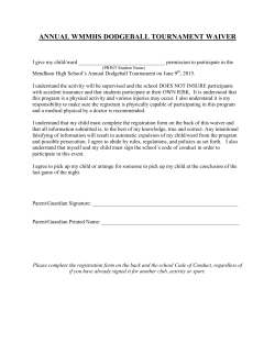 Individual Medical Waiver/Student Information Form