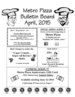 Metro Pizza Bulletin Board April, 2015
