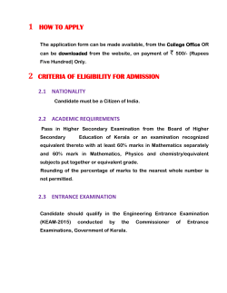 1 how to apply 2 criteria of eligibility for admission